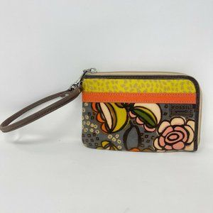 Fossil Key Per Floral Zip Around Wristlet Wallet